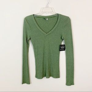Michael Stars • Green Ribbed Tee Size OSFM